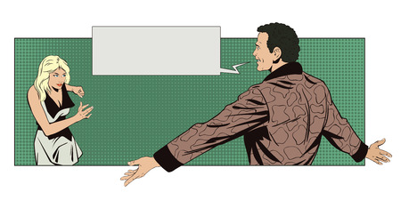Stock illustration. People in retro style. Presentation template. Joyful man meets a girl. Girl run.
