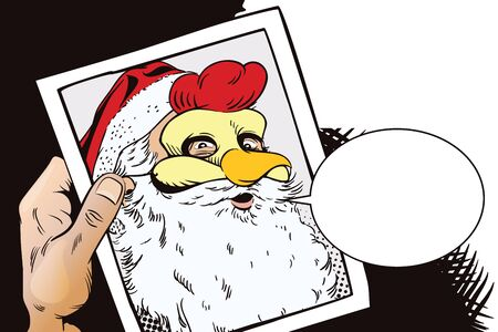 Stock illustration. People in retro style. Presentation template. Santa Claus in a rooster mask. Symbol of year. Horoscope 2017. Hand with photo.