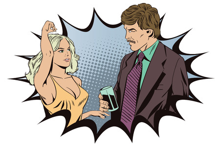Stock illustration. People in retro style. Presentation template. Man watching the dancing girl.