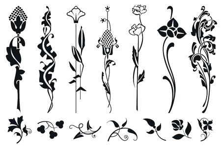 Vektorpflanzenvignette für Etiketten, Banner, Aufkleber und anderes Design.