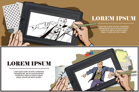 surprised man: Stock illustration. People in retro style. Presentation template. Surprised man is pointing finger. Promo man. Your advertising brand here. Hand paints picture on tablet.