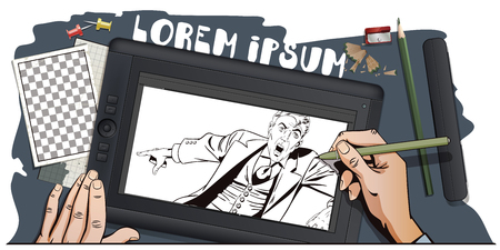 promoter: Stock illustration. People in retro style. Presentation template. Surprised man is pointing finger. Promo man. Your advertising brand here. Hand paints picture on tablet.