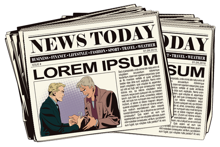 culprit: Stock illustration. People in retro style. Presentation template. Police handcuffs offender. Newspaper article.