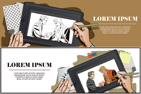 offender: Stock illustration. People in retro style. Presentation template. Police handcuffs offender. Hand paints picture on tablet.