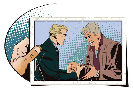 offender: Stock illustration. People in retro style. Presentation template. Police handcuffs offender. Hand with photo.