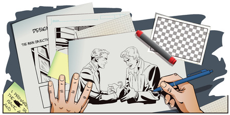 offender: Stock illustration. People in retro style. Presentation template. Police handcuffs offender. Hand paints picture. Illustration
