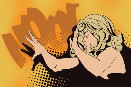 terrified woman: Stock illustration. People in retro style. Presentation template. Girl screaming in horror.