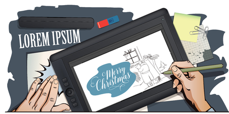 songs: Stock illustration. People in retro style. Presentation template. Mans sing Christmas songs. Hand paints picture on tablet.