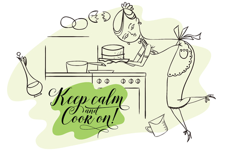 keep in: Stock illustration. Woman in kitchen. Cooking. The trend calligraphy. Quote keep calm and cook on!