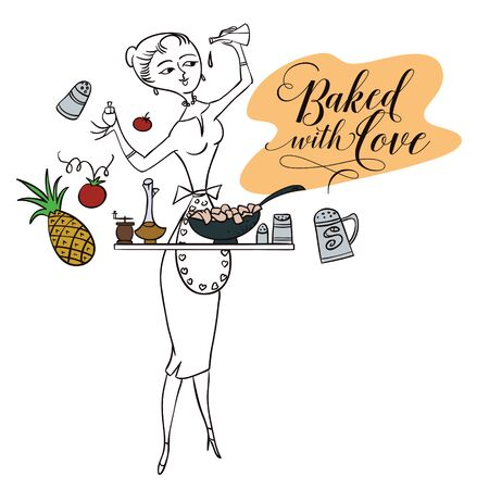 stock quote: Stock illustration. Woman in kitchen. Cooking. The trend calligraphy. Quote Baked with love. Illustration