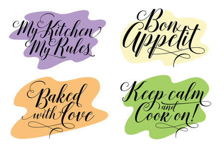 Stock illustration. Cooking. The trend calligraphy. Quote my kitchen my rules, bon appetit, Baked with love, keep calm and cook on. Illustration