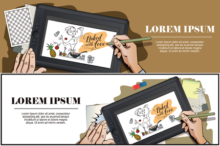 stock quote: Stock illustration. Woman in kitchen. Cooking. The trend calligraphy. Quote Baked with love. Hand paints picture on tablet. Illustration