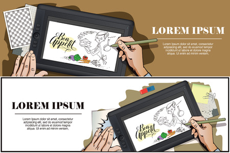 stock quote: Stock illustration. Woman in kitchen. Cooking. The trend calligraphy. Quote Bon Appetit. Hand paints picture on tablet.