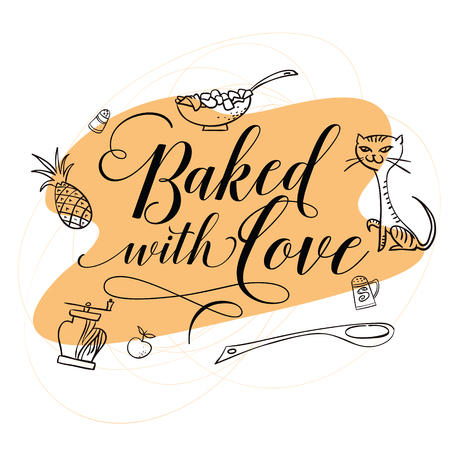 stock quote: Stock illustration. Cooking. The trend calligraphy. Quote Baked with love Illustration