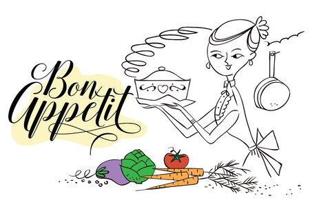 stock quote: Stock illustration. Woman in kitchen. Cooking. The trend calligraphy. Quote Bon Appetit Illustration