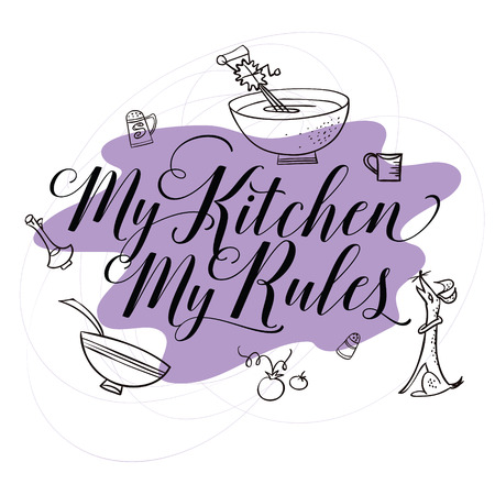 stock quote: Stock illustration. Cooking. The trend calligraphy. Quote my kitchen my rules Illustration