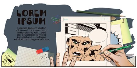 rage: Stock illustration. People in retro style. Presentation template. Rage men screaming. Hand paints picture.