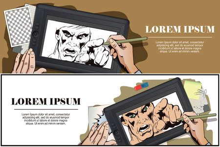 rage: Stock illustration. People in retro style. Presentation template. Rage men screaming. Hand paints picture on tablet.