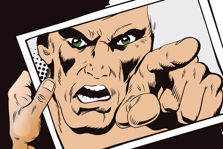 rage: Stock illustration. People in retro style. Presentation template. Rage men screaming. Hand with photo.