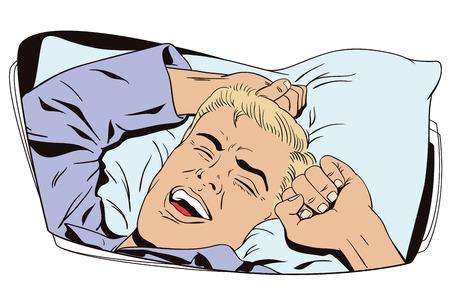 Dell'illustrazione. Le persone in stile retrò. modello di presentazione. Il giovane sta svegliando a letto mattina. Egli è sbadigliare e stretching le braccia. Vettoriali