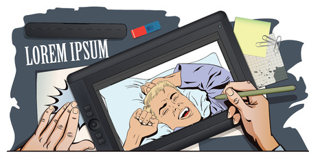 yawning: Stock illustration. People in retro style. Presentation template. Young man is waking in bed morning. He is yawning and stretching his arms up. Hand paints picture on tablet. Illustration
