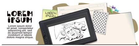 Illustrazione di riserva Persone in stile retrò. Modello di presentazione Il giovane si sveglia a letto la mattina. Sta sbadigliando e allungando le braccia. Pubblicizza i tuoi prodotti. Archivio Fotografico - 68049517