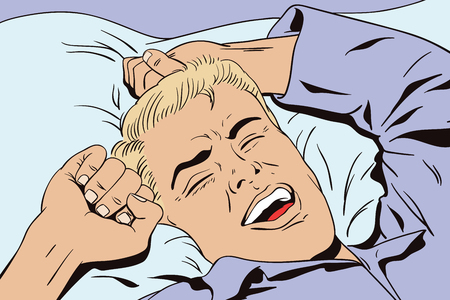 Stock illustration. People in retro style. Presentation template. Young man is waking in bed morning. He is yawning and stretching his arms up.