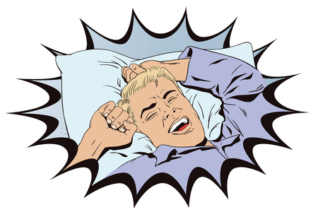 yawning: Stock illustration. People in retro style. Presentation template. Young man is waking in bed morning. He is yawning and stretching his arms up.