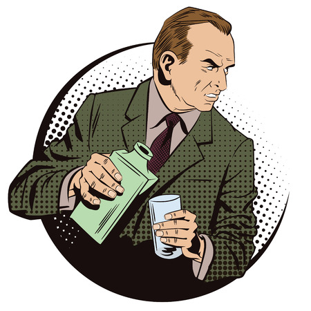 Stock illustration. People in retro style. Presentation template. An elegant man drinking whisky.