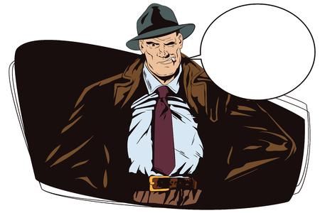 Stock illustration. People in retro style. Presentation template. Confident a private detective. Retro dressed investigator.