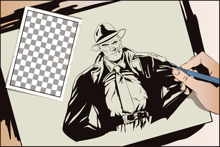Stock illustration. People in retro style. Presentation template. Confident a private detective. Retro dressed investigator. Hand paints picture Illustration
