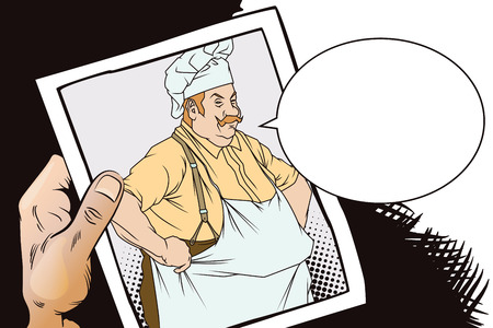 Stock illustration. People in retro style. Presentation template. Chef with hands on hips. Hand with photo.