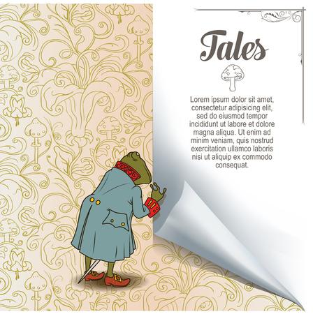 croaking: Fairy background. Frog in jacket. Illustration