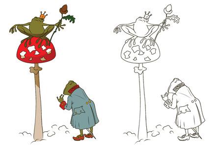 princess frog: Stock illustration. Princess frog on mushroom amanita. Illustration
