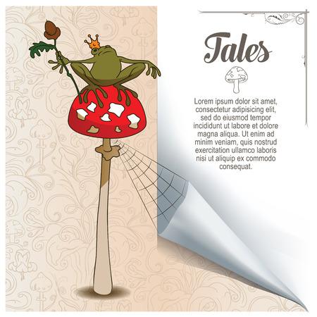 princess frog: Fairy background. Princess frog on mushroom amanita.
