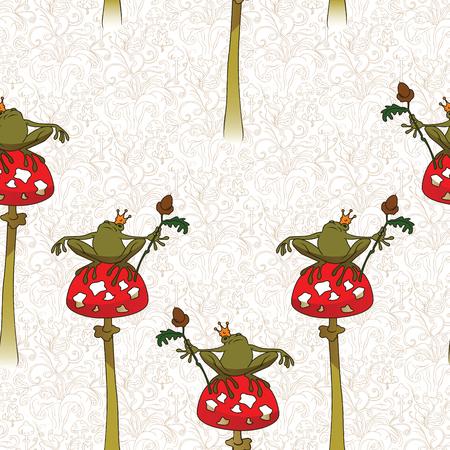 princess frog: Fairy background. Seamless pattern. Princess frog on mushroom amanita. Illustration