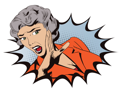 Stock illustration. People in retro style. Presentation template. Girl screaming in horror.