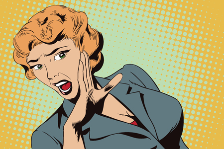 overwhelmed: Stock illustration. People in retro style. Presentation template. Girl screaming in horror.