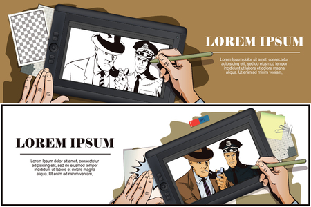 detain: Stock illustration. People in retro style. Presentation template. Man with cigarette and policeman. Hand paints picture on tablet.