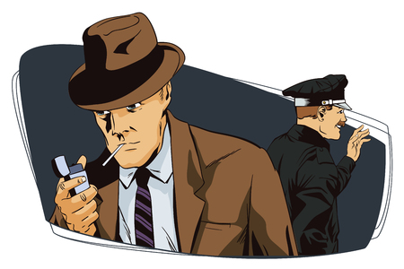 detain: Stock illustration. People in retro style. Presentation template. Man with cigarette and policeman.