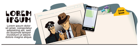 detain: Stock illustration. People in retro style. Presentation template. Man with cigarette and policeman. Advertising your products. Illustration