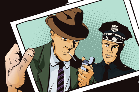 detain: Stock illustration. People in retro style. Presentation template. Man with cigarette and policeman. Hand with photo.