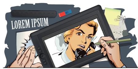 vintage phone: Stock illustration. People in retro style. Presentation template. Portrait of female nurse using vintage phone. Hand paints picture on tablet.
