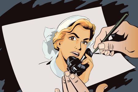 vintage phone: Stock illustration. People in retro style. Presentation template. Portrait of female nurse using vintage phone. Hand paints picture. Illustration