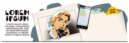 vintage phone: Stock illustration. People in retro style. Presentation template. Portrait of female nurse using vintage phone. Advertising your products. Illustration
