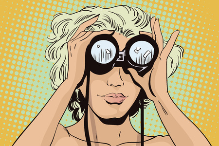 Stock illustration. People in retro style. Presentation template. Girl looks through binoculars. Her hair fluttering in the wind. Illustration
