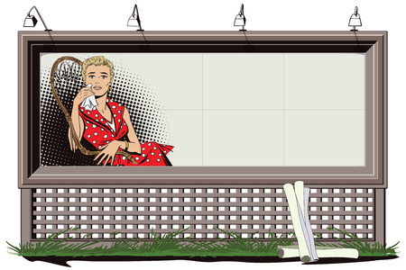 Stock illustration. People in retro style. Presentation template. Sad beautiful girl sitting in chair. Poster for your brand.