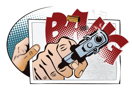 Stock illustration. Hands of people in the style of pop art and old comics. Hand with photo. Gun shoots on photo. Illustration