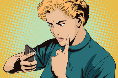 Stock illustration. People in retro style. Presentation template. Girl scolds smartphone.