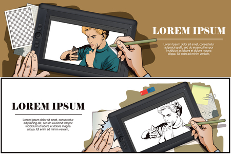smartphone hand: Stock illustration. People in retro style. Presentation template. Girl scolds smartphone. Hand paints picture on tablet.
